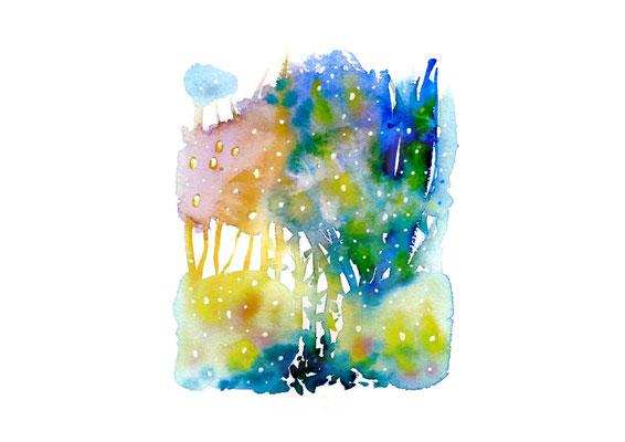 Sylvie Lander, HIMMELSGÀRTE - JARDINS CÉLESTES, aquarelle, 21 x 29, 7 cm, Éditions LIRE-OBJET, 2020 ©sylvie lander