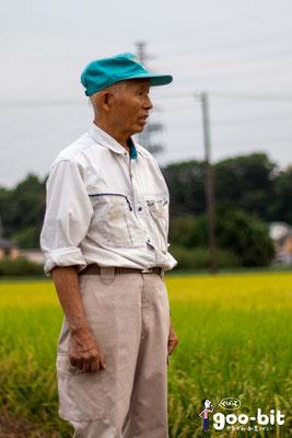 酒米「若水」栽培農家の加藤欣三さん。この取材から1ヶ月半後、ご逝去されました。もっともっとお話を伺いたかったです。(南足柄市)