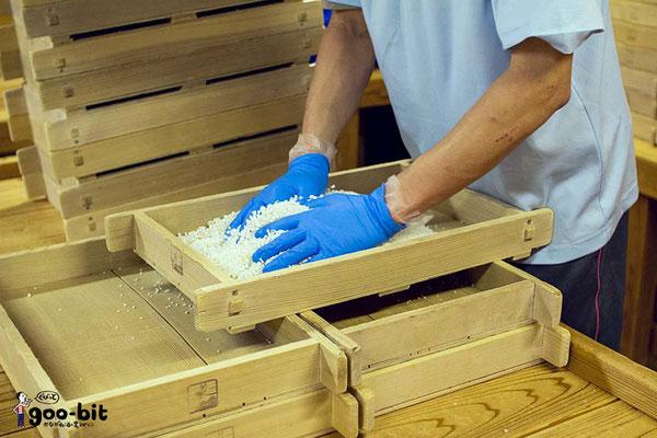 泉橋酒造・犬塚さんが麹造りをしています。非常に緊張感を感じる工程です。