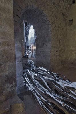 """Amarnath 3, vue latérale et départ de l'installation """"Coulée sèche"""". Voir +: travaux_warning"""