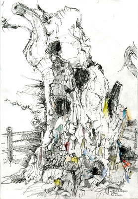 Plaqué-grillé, 2019, dessin à la mine de plomb aquarellée sur papier 180g, 21x30cm.  Seul dessin polychrome de la série, il représente 1 arbre à loques (arbre votif), chêne millénaire classé monument historique en 1943, brulé accidentellement.