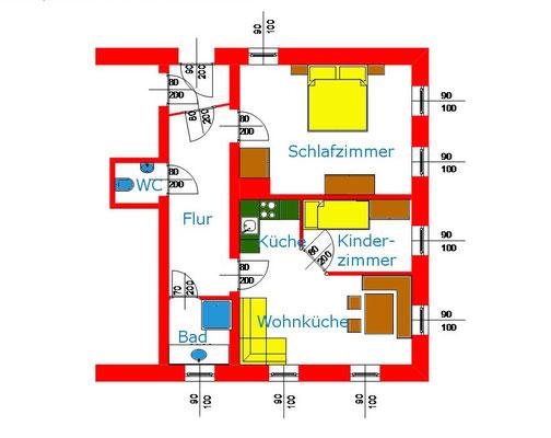 Grundriss Familienzimmer Katzenstube am Biobauernhof Stadler