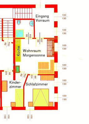 Grundriss Ferienwohnung Morgensonne am Biobauernhof Stadler