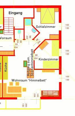 Grundriss Ferienwohnung Himmelbett am Biobauernhof Stadler