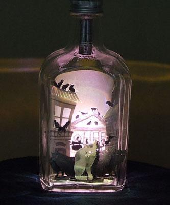 切り絵ボトルアート・萩原朔太郎・猫町