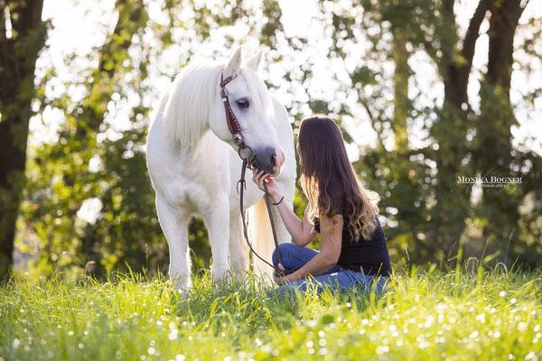 Kuschelfoto mit Pferd und Mensch