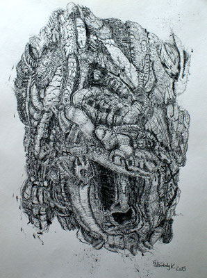 Bark Structures / Tusche, Indian ink / 35 x 45,5 cm / 2015