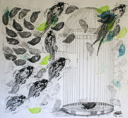 Kein Zurück Mehr, Point of no Return / Linolschnitt, Tusche / Linocut, Indian ink / 102 x 95 cm / 2010