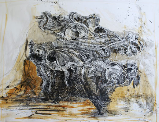Bestien, Beasts / Tusche, Sepiatusche laviert / Indian ink, sepia ink wash / 65 x 50 cm / 2010