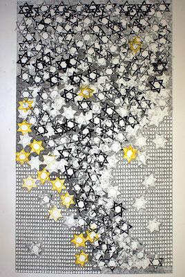 Tränen, Tears / Linolschnitt, Tintenschreiber / Linocut, ink pen / 64,5 x 113 cm / 2009