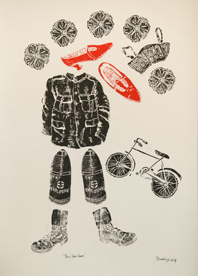 Red Shoe Swap (Dorothy Lawrence Series) / Linolschnitt, linocut on paper, 55 x 70 cm / 2016 (Clairefontaine paper 640g)