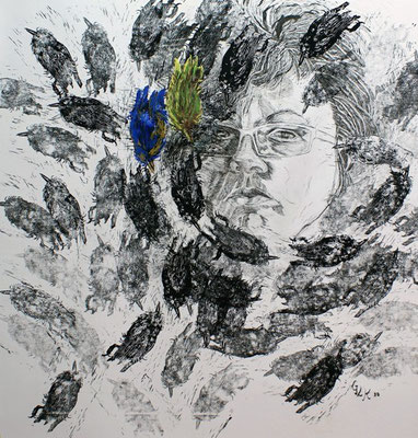 Zwei, Two / Linolschnitt, Tusche, Kreide / Linocut, Indian ink, coloured chalks / 95 x 92 cn / 2010