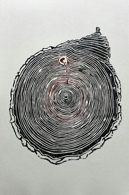 53 / Holzschnitt, wood relief print / unique copy / 40 x 50 cm / 2018