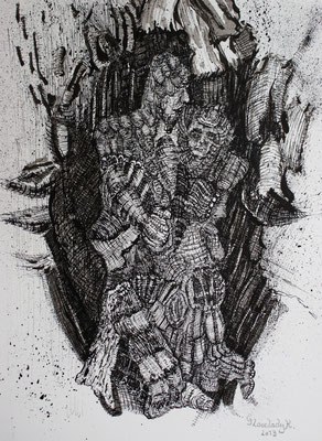 Mikrokosmos - Verewigt in Holz , Eternalised in Wood / Tusche, Indian ink / 23 x 30 cm / 2013