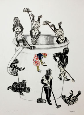 Eve's Bucket List - Fuck This Bucket! / Holzschnitt, wood relief print / unique copy / 75 x 105 cm / 2018 (Clairefontaine paper 640g)