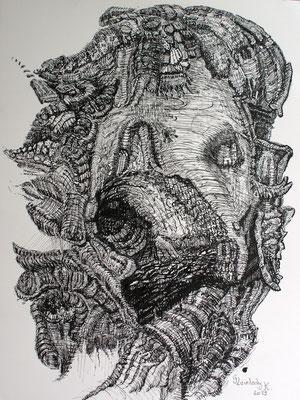 Mikrokosmos - Olivant, Microcosm - Olivant / Tusche, Indian ink /23 x 30 cm / 2013