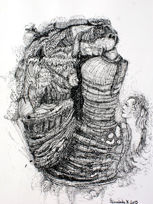 Holzerne Entitäten , Wooden Entities / Tusche, Indian Ink / 23 x 30 cm / 2015