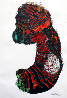 Crazy Creatures I / Tusche, Scherenschnitt mit Acryl hinterlegt / Indian ink, paper cut with background in acrylic / 35 x 45,5 cm / 2015