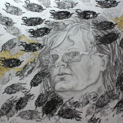 Meine Vögel, My Madness / Linolschnitt, Bleistift, Farbstift/ Linocut, pencil, coloured pen /  85 x 85 cm / 2010