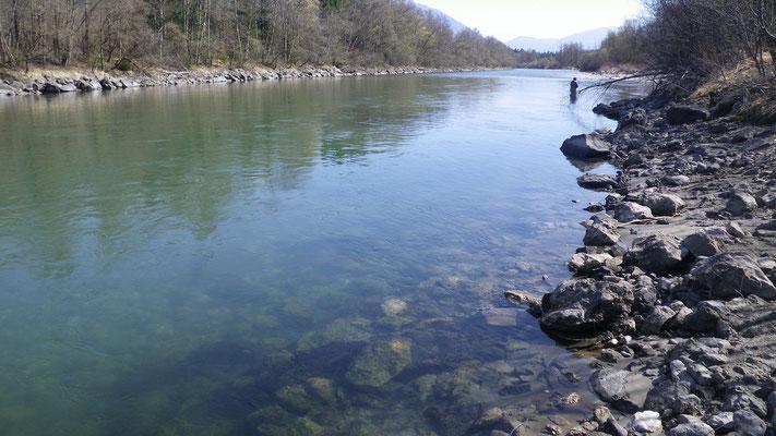 Niedrigwasser im Frühjahr. Sichttiefen über 1,5 Meter sind keine Seltenheit