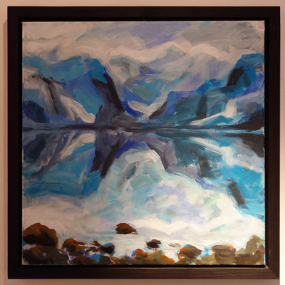 Diese sehr spontane Malerei öffnet durch die Steine im Vordergrund den Raum