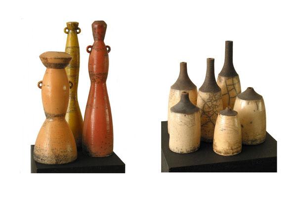 Zwei Flaschengruppen (links Höhe bis 48cm, rechts bis 30cm)