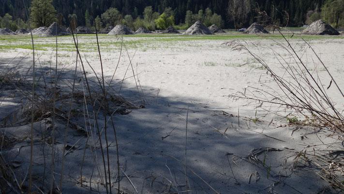 Der Sand, den die Drau mitbrachte, ist extrem feinkörnig.