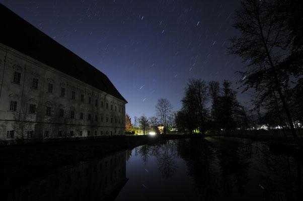 Langzeitbelichtung (15 min.) im Park. Deutlich íst die Rotation der Erde an den Sternen zu erkennen