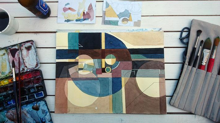 Mehrere Themen wurden bearbeitet. Hier zum Beispiel rein konstruktive Aquarelle. So etwas wird kaum praktiziert.
