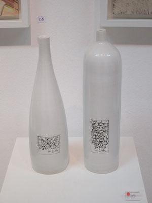 """""""...in Liebe"""" - Flaschen mit Majolika Etikett"""