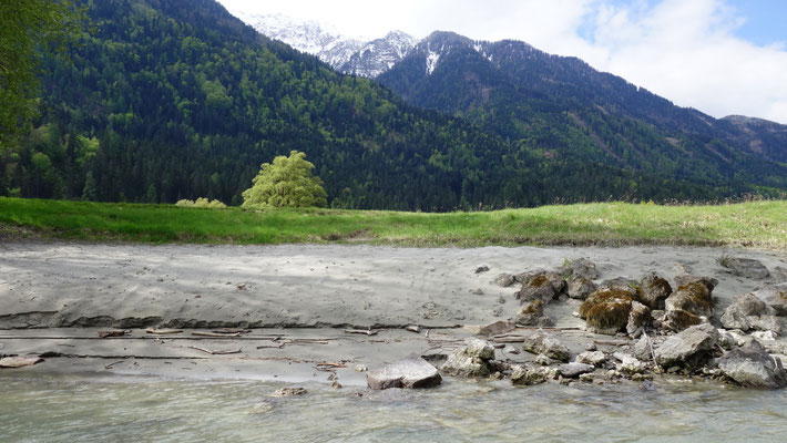 Im Sand ist exakt der erhöhte Wasserstand vor wenigen Tgen ablesbar.