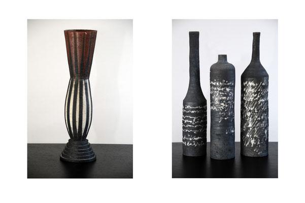 Schlanke Rakuvase (gedreht 40 cm) und Trio aus der Flaschenpost-Serie