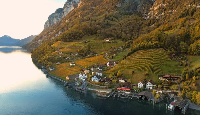 Quinten, Walensee, Herbst, Drohne, Heidiland,