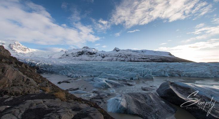 Ansicht des Svínafellsjökull Glacier.