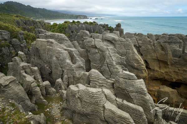 Punakaiki Pancake Rocks, Sicht auf die Gesteinsschichten mit dem blauen Meer im Hintergrund