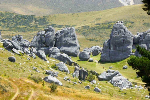 Kura Tawhiti, Castle Hill Conservation Area-Blick über die unzähligen Steingebilde