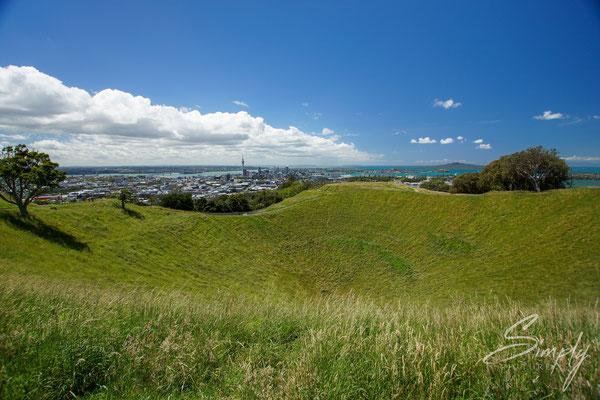 Aukland, güne Wiese auf dem Mount Eden Summit mit Sicht auf die Stadt