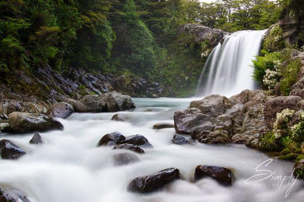 Tongariro Forest Park, Wanganui-Tawhai Falls, Gollums Pool, Wasserfall im Nationalpark, Langzeitaufnahme