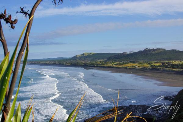 Raglan, Waikato, Solscape Raglan, weitschweiffender Ausblick auf den Ocean
