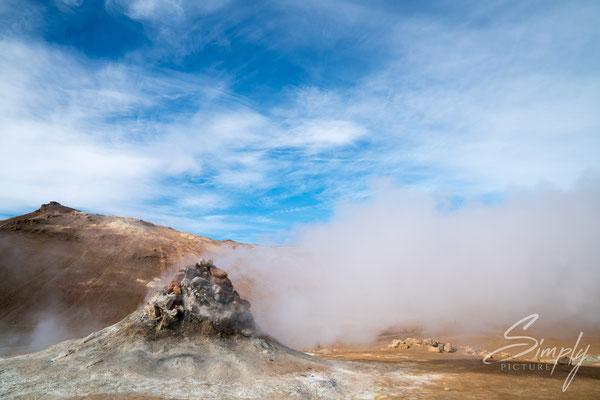 Dampfende Fumerale bei Jarðböðin við Mývatn.