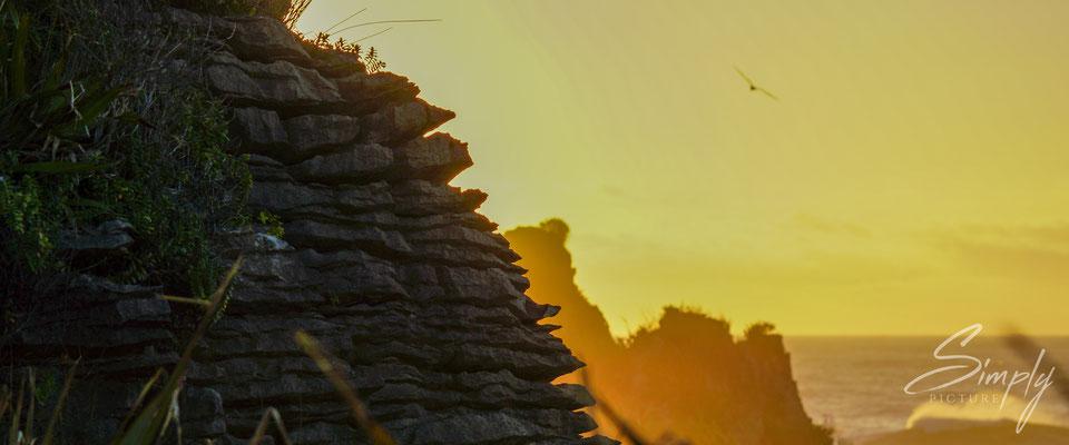 Punakaiki Pancake Rocks, goldgelber Sonnenuntergang und das Profiel der Steinschichten im Vordergrund