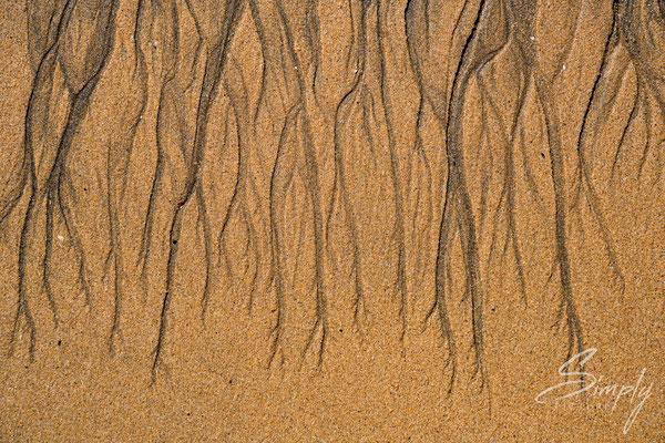 Wasser-Zeichnung im Sand am Strand Rauðisandur .