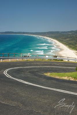 Queensland, Byron Bay, Cosy Corner Beach, Auf dem Rückweg vom Leuchtturm-Strasse, weisser Strand-blaues Meer