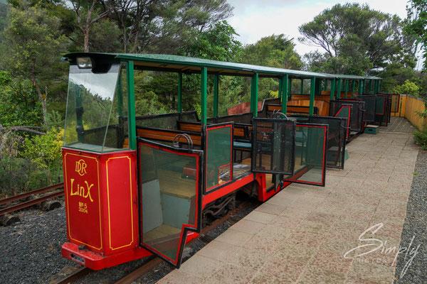 Coromandel, Driving Creek Railway, kleiner, rot-grüner Zug mit Angehängern im Urwalds geparkt