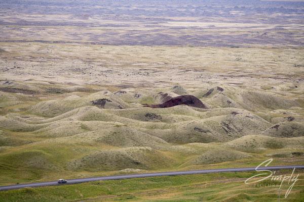 Älteres und bewachsenes Lavafeld in der nähe von Skaftárhreppur.