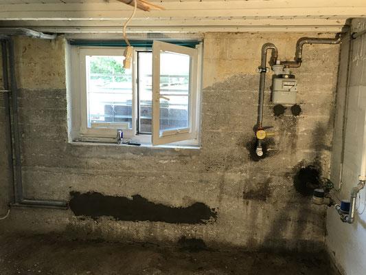 Sanierung von Kellerwand aus Stampfbeton