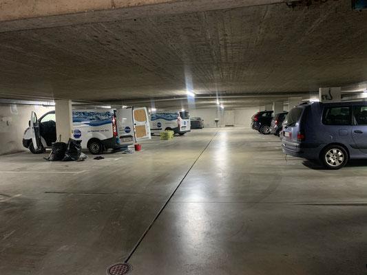 Abdichtung einer Tiefgarage von innen, Hydrostop, Autoeinstellhalle von innen Abdichten, Sanierung Einstellhalle