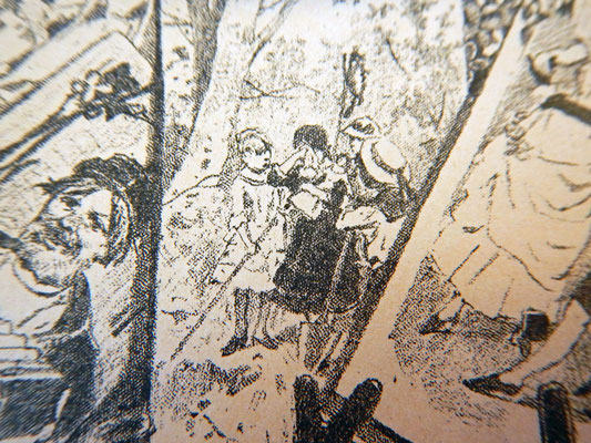 Дети с лопатами и в слезах возле вырытой могилки (Похороны куклы)
