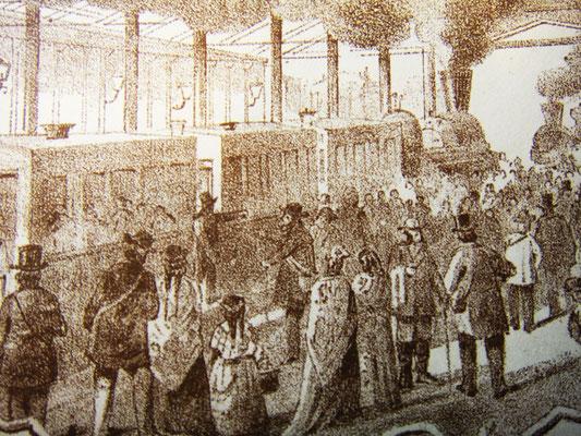 Перрон и пассажиры поезда