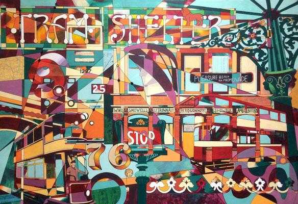 Tramlines, Original acrylic, framed NFS